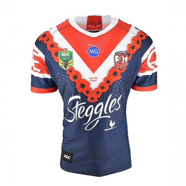 Maillot Sydney Roosters Anzac 2018 Bleu